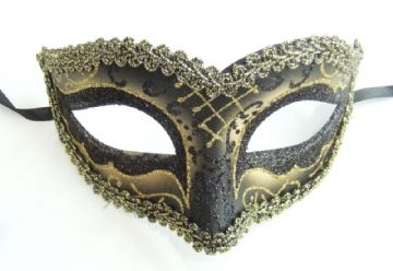 Gents Venetian style Gold & Black braided eye Mask